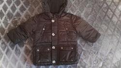 Курточка демисезонная тёплая коричневая для мальчика 12 мес, рост 80см