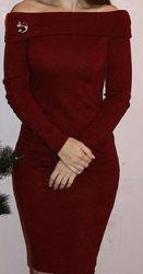 платье миди, теплое платье, нарядное платье, красное платье, облегающее
