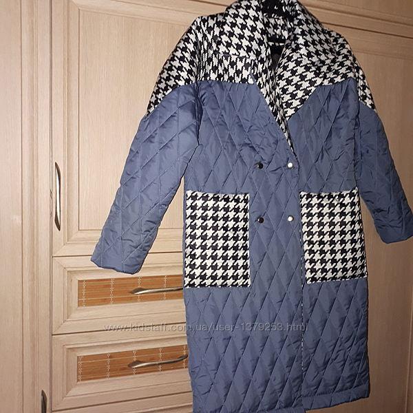 женское стеганое пальто с карманами осень весна на силиконе размер 42-44