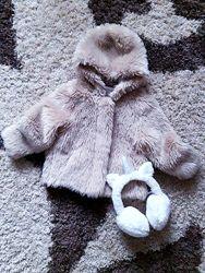 Няшный нюдовый полушубок эко шубка худи шуба тедди teddy с капюшоном Next.