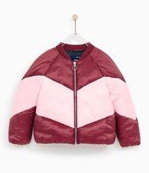 Базовый зимний пуффер пуховик дутая куртка бомбер колор блок Zara Kids.
