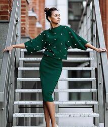 Элитный изумрудный вязаный костюм топ свитшот юбка миди Victoria&acutes Secret.