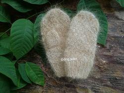 Детские рукавицы из собачьей шерсти шерстяные