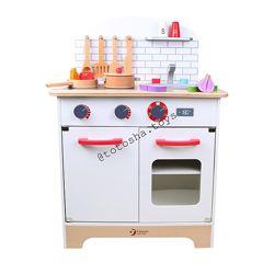 Деревянная кухня с продуктами и посудой, белая, Classic world. 4201