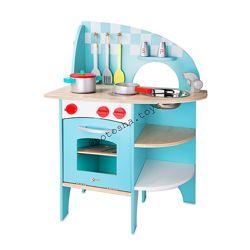 Деревянная кухня с посудой, голубая, Classic world. 4157