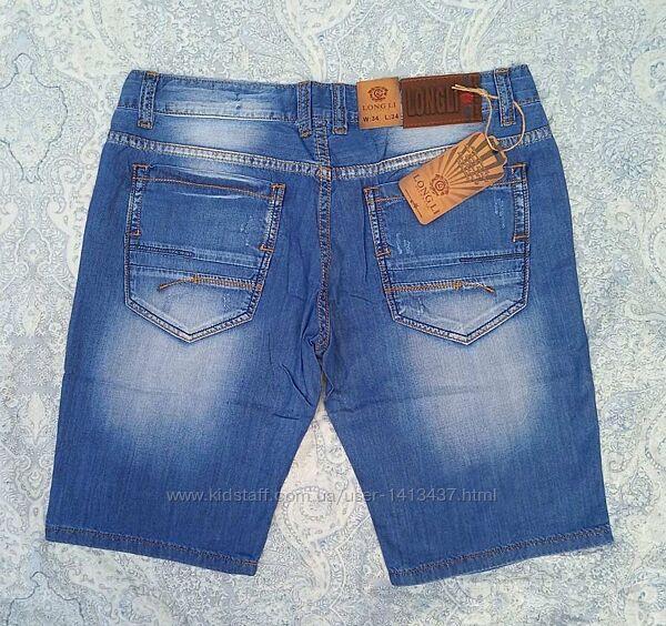 Шорты мужские тонкие джинсовые летние синие царапки 32,33,34,36