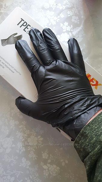Черные перчатки виниловые, латексные М, Л, С, ХЛ Опт