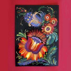 Небольшая Картина Петриковская роспись, гуашь/картон/А4, без рамки, автор