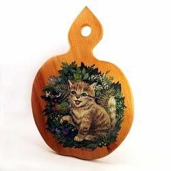 Роспись по дереву, рисунок кота под заказ по фотографии, памятный подарок