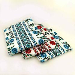 Кухонные вафельные полотенца Розы, комплект 3шт 2 голуб. , 1 красн. 40х70