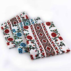 Кухонные вафельные полотенца Розы, комплект 3шт 2 красн. , 1 голуб. 40х70