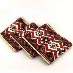 Кухонные вафельные полотенца Украинские Узоры, комплект 3шт, красн. 40х70