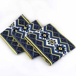 Кухонные вафельные полотенца Украинские Узоры, комплект 3шт, синий. 40х70