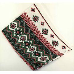 Кухонные вафельные полотенца Украинские Узоры, комплект 3шт, зелен. 40х70