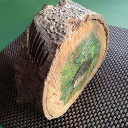 Лесной Еж, декор в стиле Кантри, спил-срез дерева/ лак/ гуашь