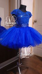 Нарядное детское платье праздничное снежинки Синее электрик пачка выпускной