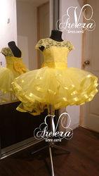 Нарядное детское платье выпускной на девочку одуванчик лучик желтое пчелка