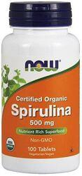 Спирулина Spirulina сертифицированная органическая, 500 мг, 100 шт
