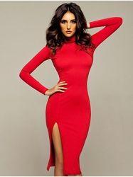 Платье с разрезом, разные цвета