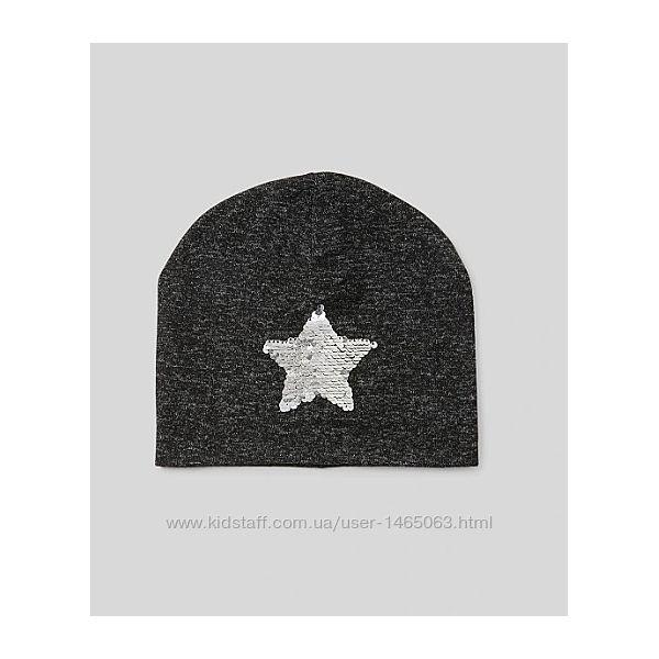 Демисезонная шапочка C&A с пайетками р.158-176 для девочки шапка на весну
