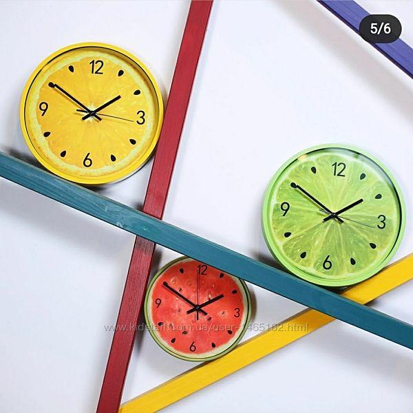 Часы настенные, годинник, цветные, фрукты D40 см