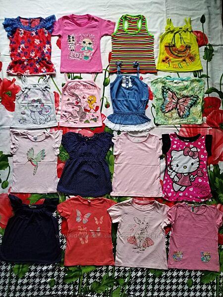 Яркие, летние футболки для девочки 3-4 года