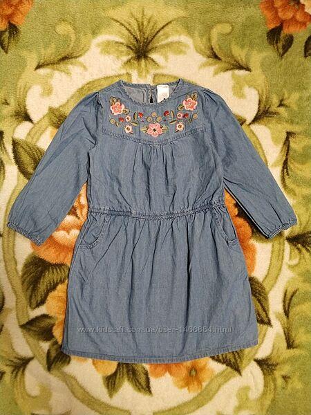 Джинсовое платье с вышивкой для девочки 4-5 лет-Palomino