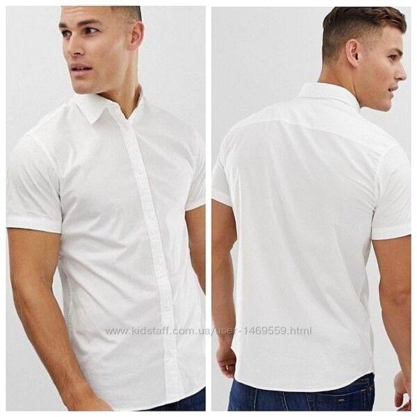 Р. 44 до 50. Рубашка мужская, модная с коротким рукавом приталенная 270002