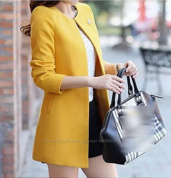 Пальто кашемировое модное желтое. Пальтишко кашемир женское короткое 50277