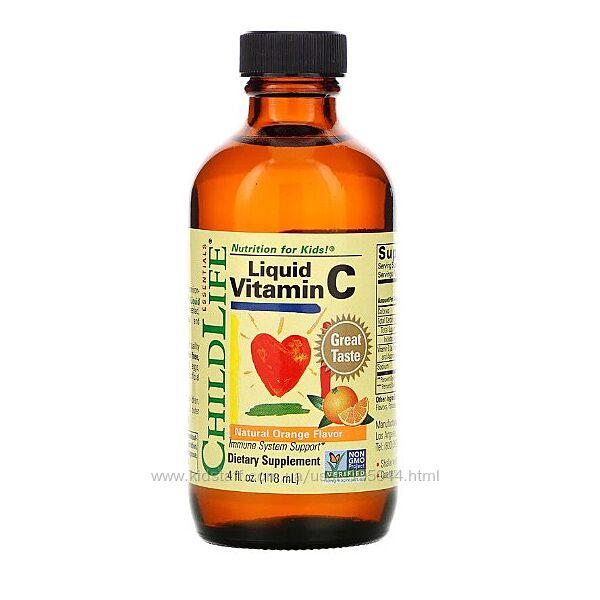 Витамин C жидкий, натуральный апельсиновый вкус, 118,5 мл