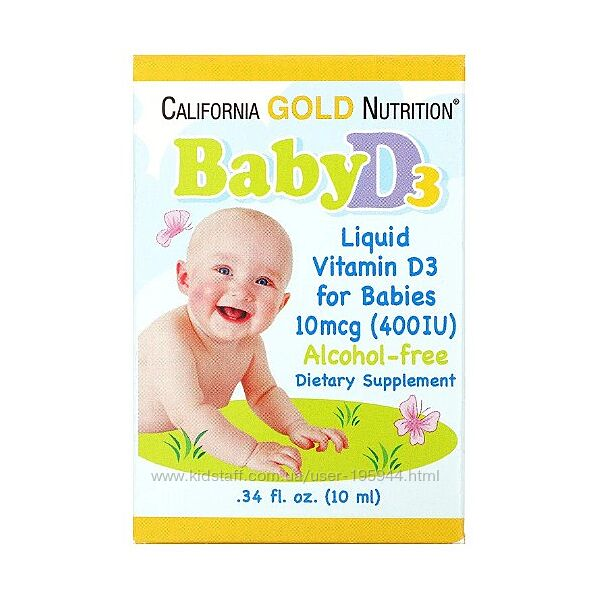 Витамин D3 в каплях для детей, 400 МЕ, 10 мл  California Gold Nutrition