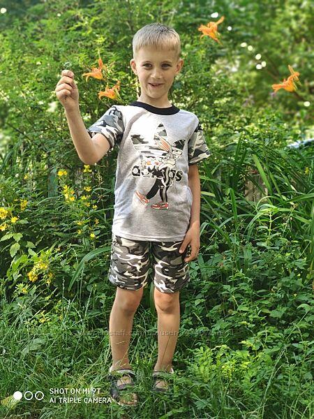 Костюм летний милитари футболка шорты камуфляжный