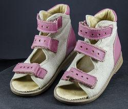 Ортопедическая обувь кожаные босоножки для девочки размер 28