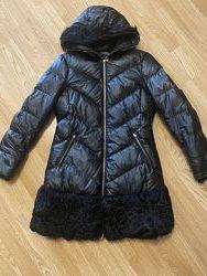 Пуховик пальто с мехом