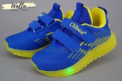 21-26р текстильные кроссовки кросівки с мигалками подсветкой Сlibee мальчик