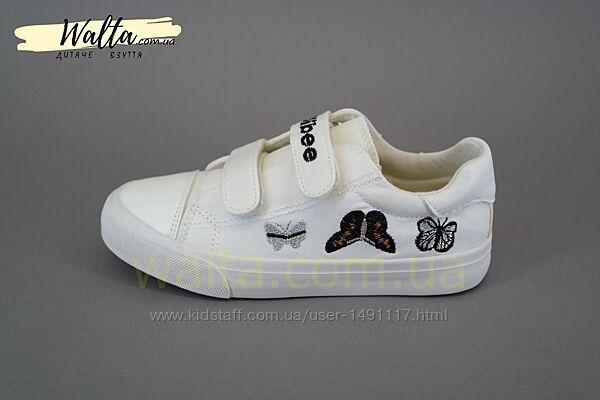32-37р Сlibee B234 белые текстильные кеды на липучках с бабочками девочке