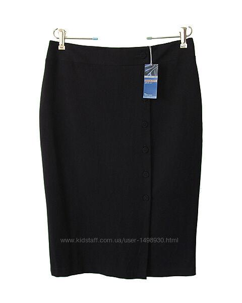 Качественная юбка-карандаш ниже колена с пуговицами р.16