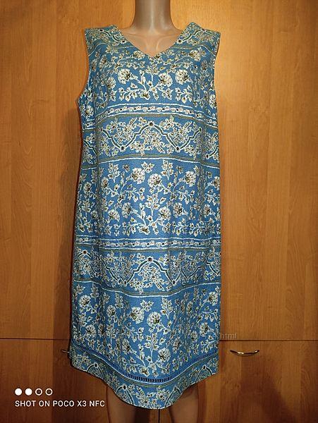 Льняное платье сарафан лён и вискоза пог-52 см