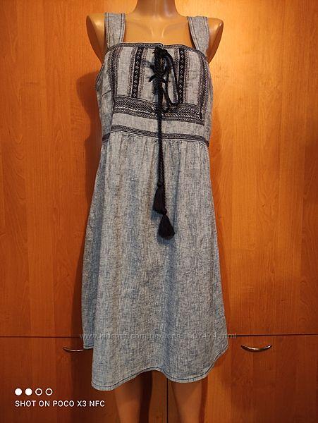 Льняное платье сарафан лен и хлопок Пог-48 см
