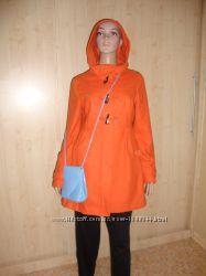Летняя цена/Яркое оранжевое шерстяное пальто плащ куртка.