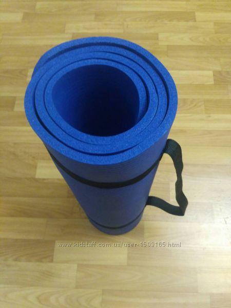 Новый синий коврик из каучука 1см йога пилатес