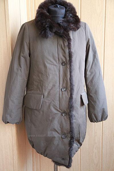 демисезонное пальто с мехом