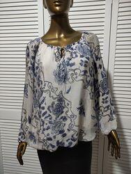 Шелковая двухслойная блузка с рисунком Италия