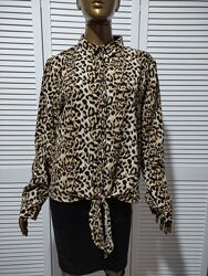 Блузка рубашка в леопардовый принт с завязкой