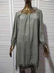 Блузка туника из мягкой вискозной ткани с кружевом Италия