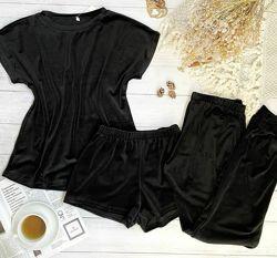 Велюровые пижамы-тройки