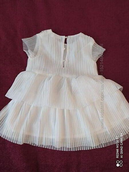 Платье белое нарядное детское 74/80 Польша с подкладкой