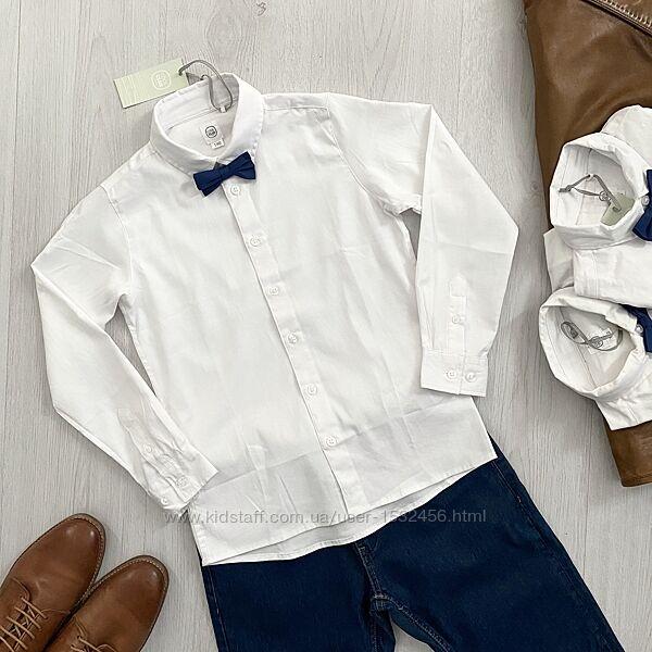 Белая нарядная рубашка с галстуком бабочкой для мальчика Cool Club Польша
