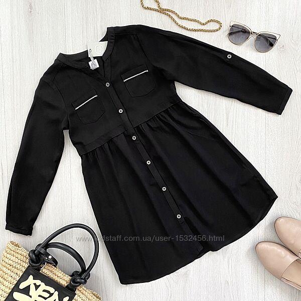 Черное подростковое платье рубашка для девочки Cool Club Польша