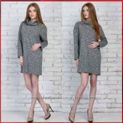 Теплое платье с хомутом Веста меланж Код 5254.